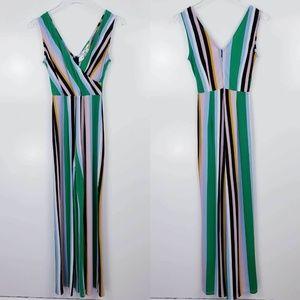 3/$25 Bar III Sleeveless Striped Wrap Jumpsuit XS